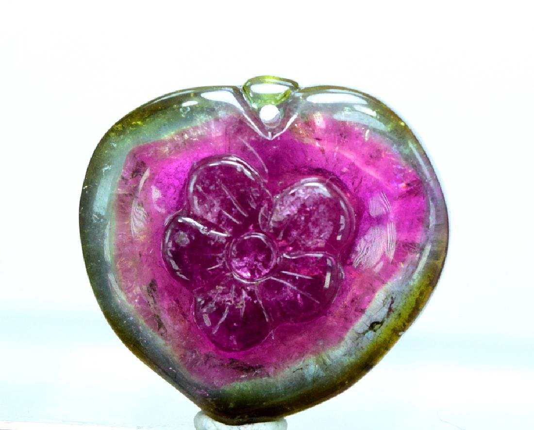 Dazzling natural Watermelon Tourmaline Carving