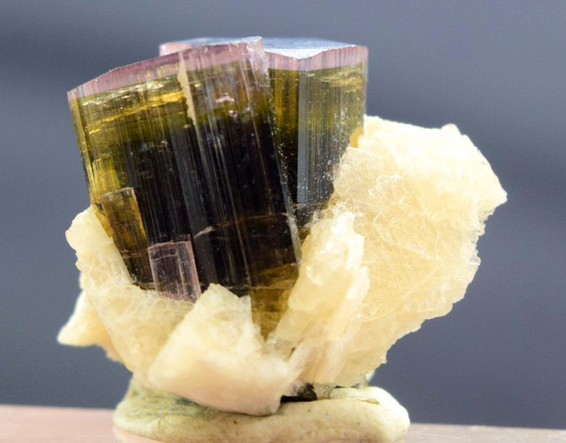 Tri Color Tourmaline Crystals with Cleavlandite albite - 4