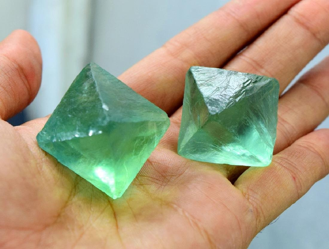 Natural Octahedral Fluorite Crystals pair
