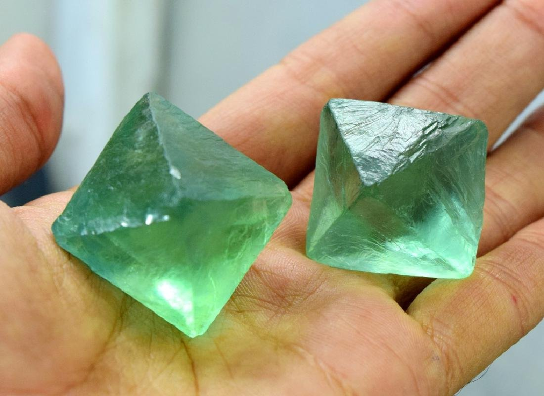 Natural Octahedral Fluorite Crystals pair - 2