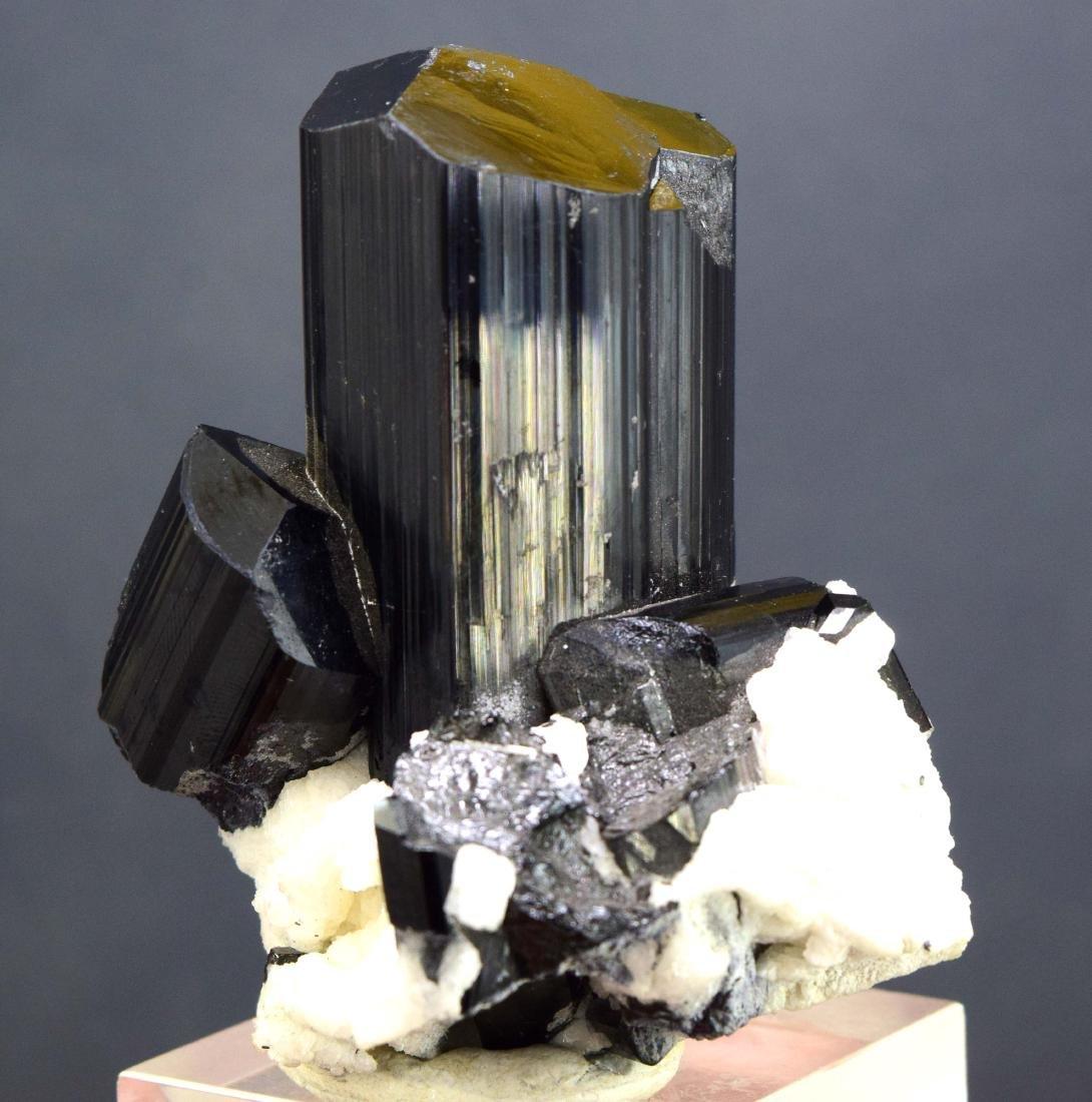 Natural Black Tourmaline Schrol with Albite Specimen - 5