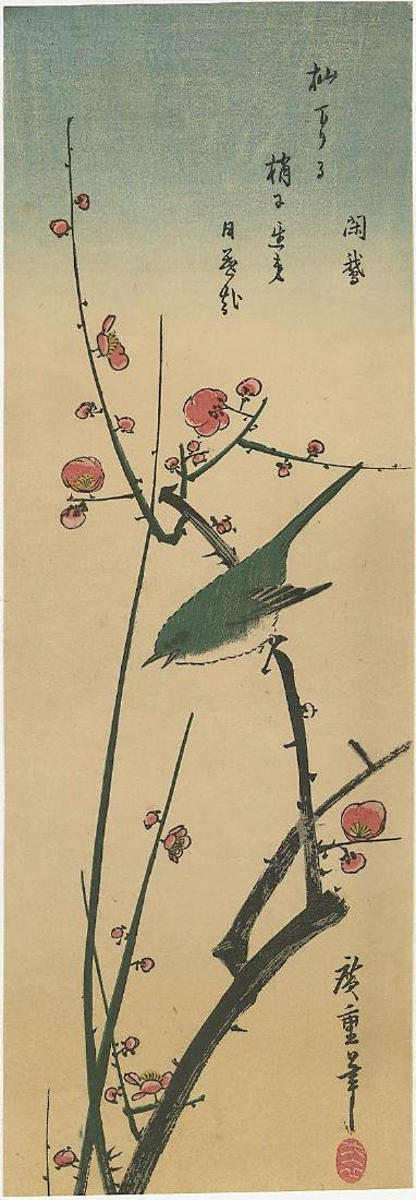 Ando Hiroshige Woodblock Bird on a Flowering Branch