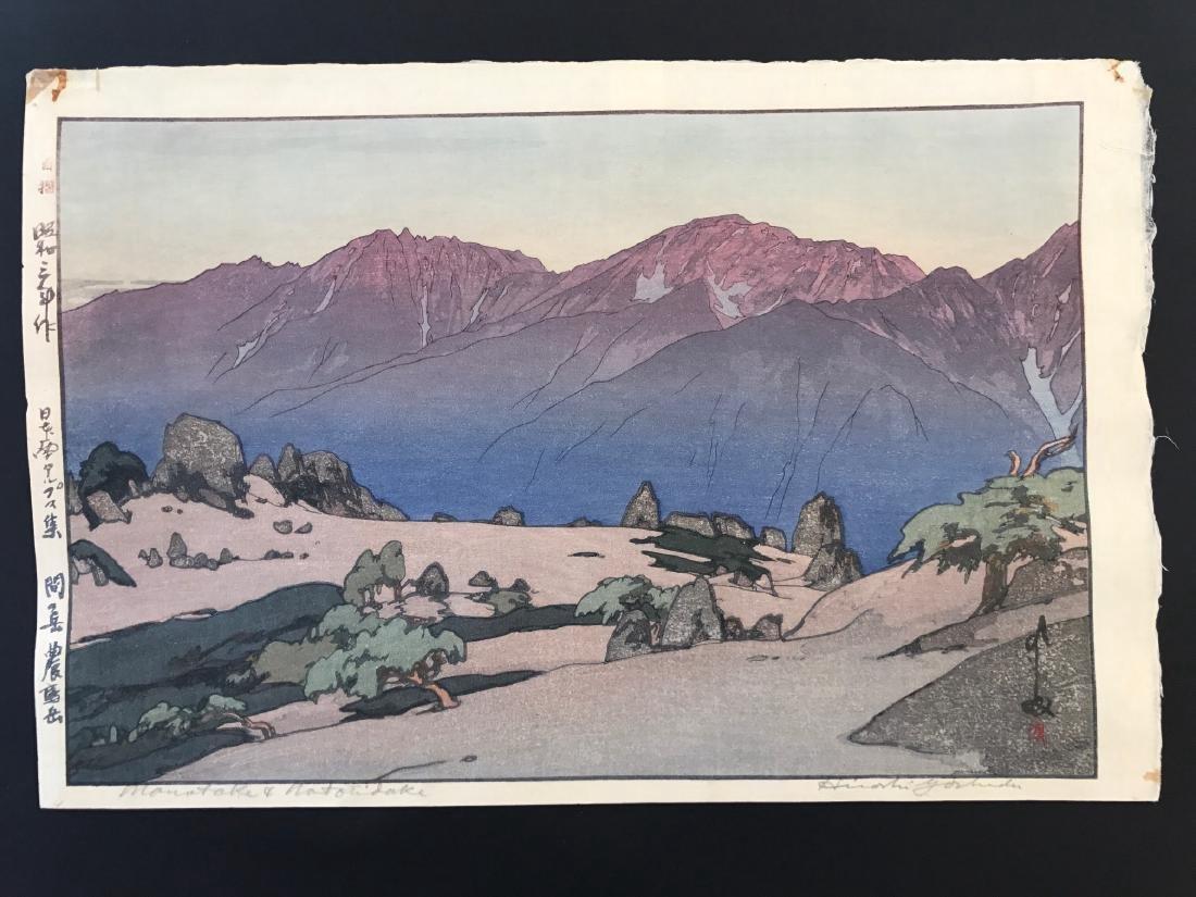 Hiroshi Yoshida Woodblock Monotake Notoridake Alps