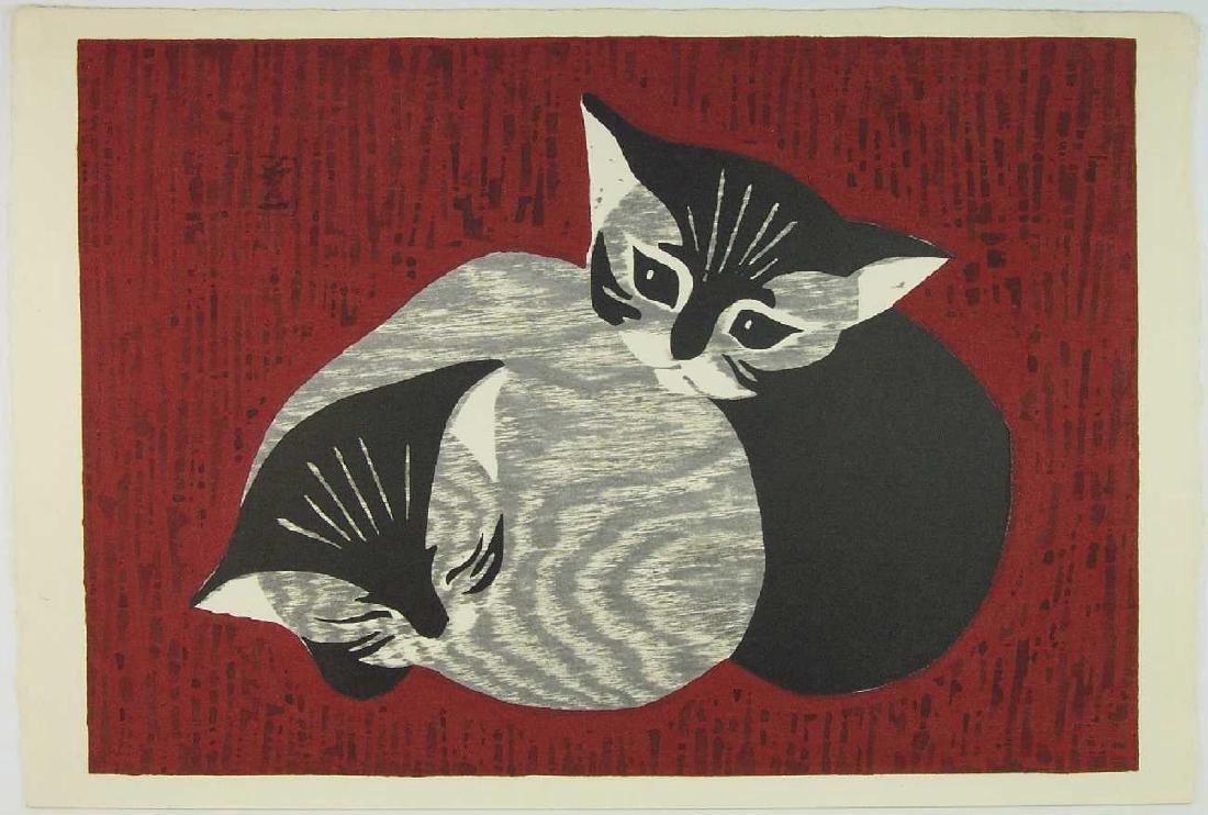 Kaoru Kawano Woodblock Two Kittens