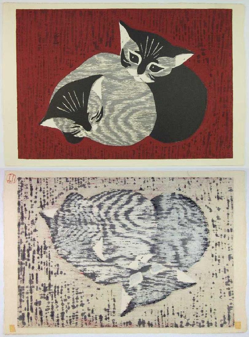 Kaoru Kawano Woodblock Two Kittens - 2