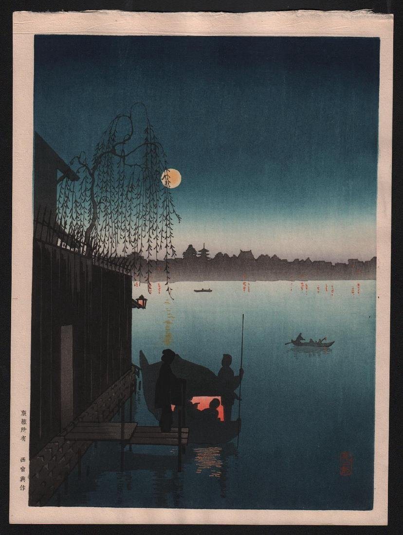 Kobayashi Eijiro Woodblock Evening Cool on Sumida
