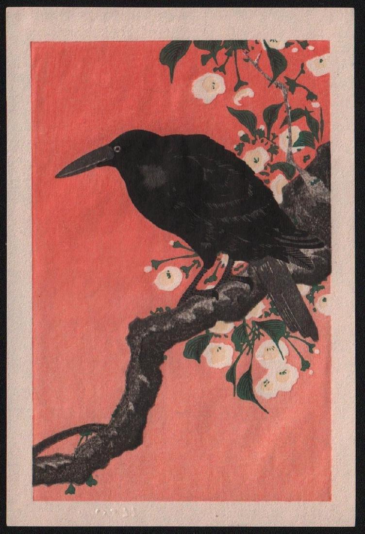 Ohara Koson Woodblock Crow on Branch
