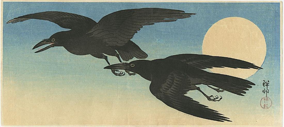 Ohara Koson Woodblock Crows and the Full Moon
