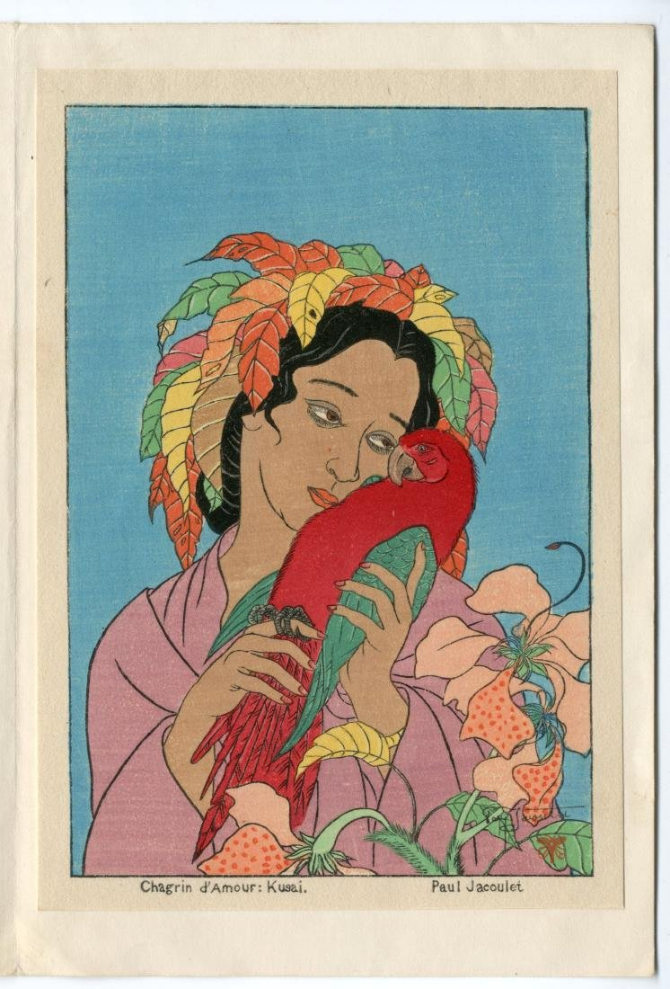 Paul Jacoulet Woodblock Chagrin D'amour, Kusai, Sorrows