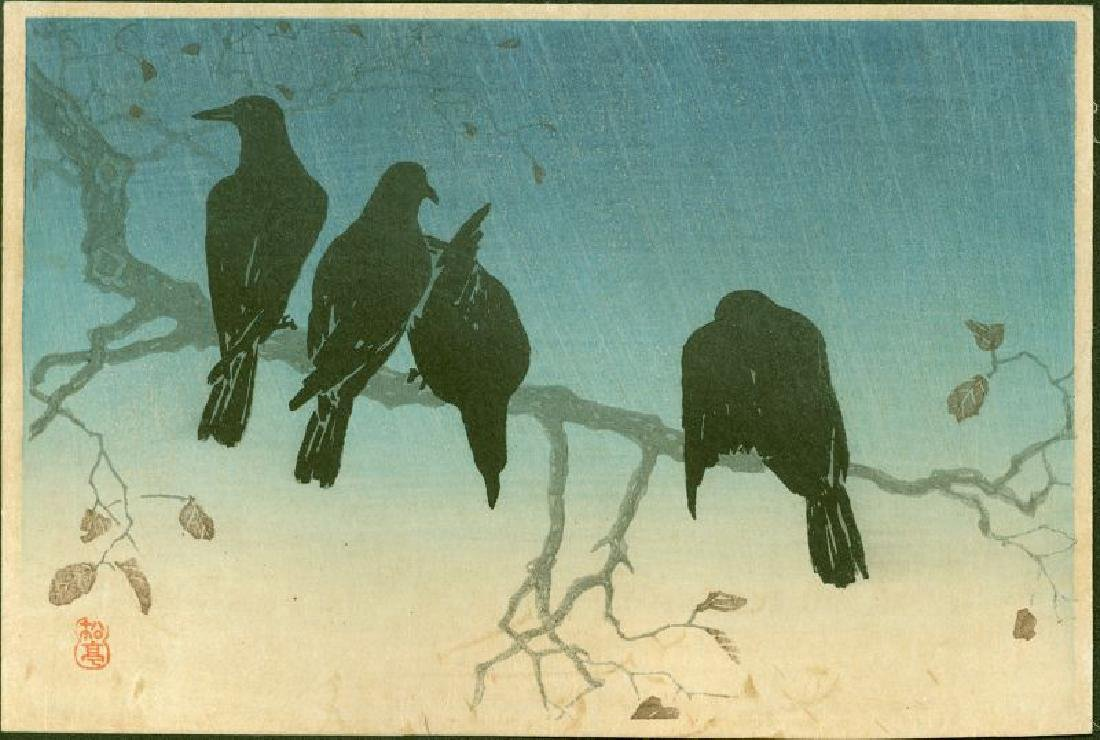Takahashi Shotei Woodblock Crows on a Cold Night