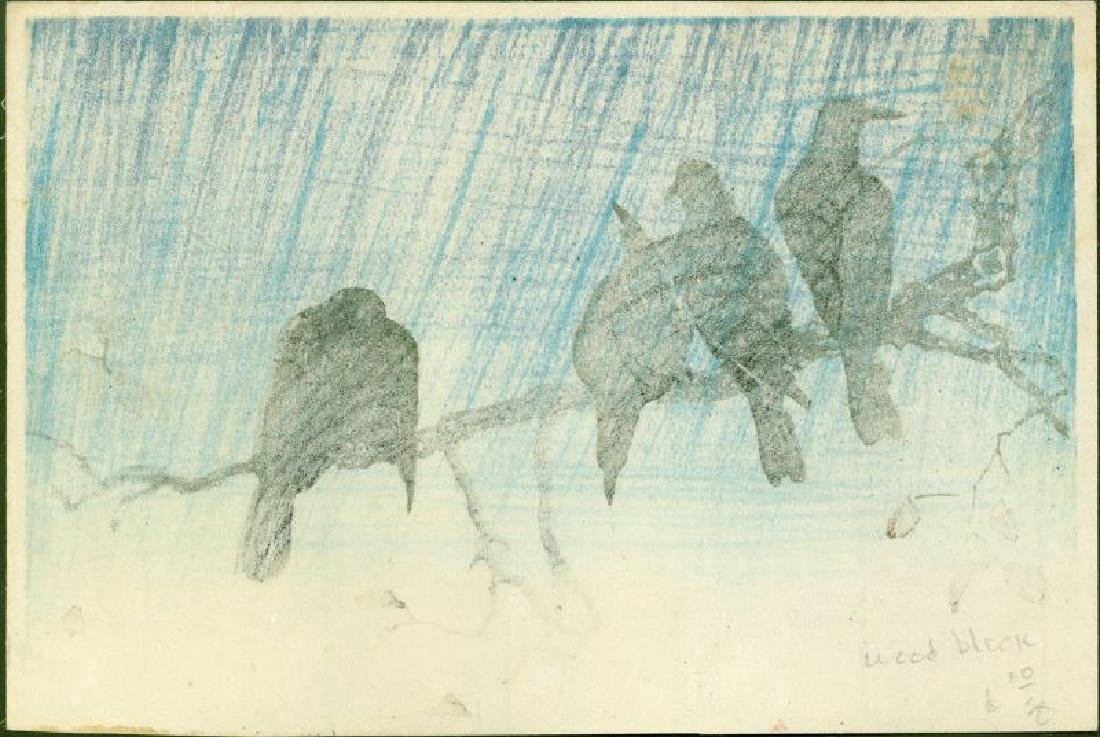 Takahashi Shotei Woodblock Crows on a Cold Night - 2
