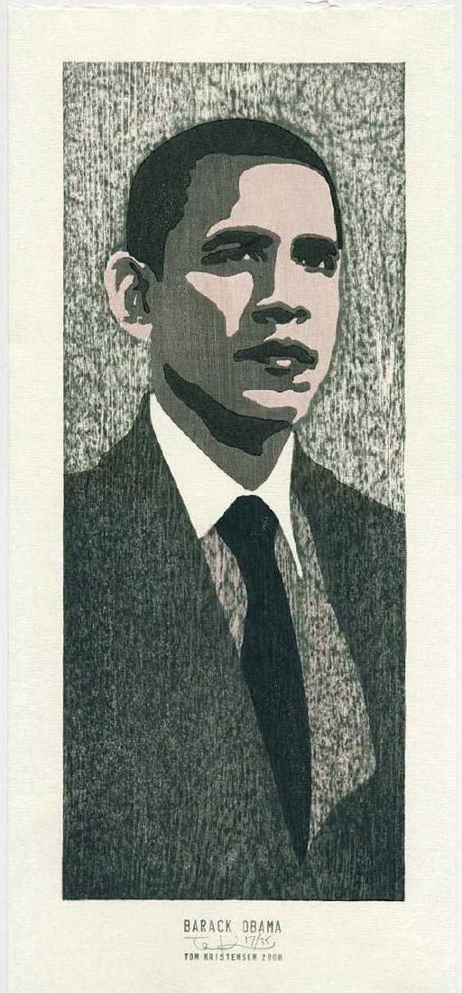 Tom Kristensen Woodblock Barack Obama