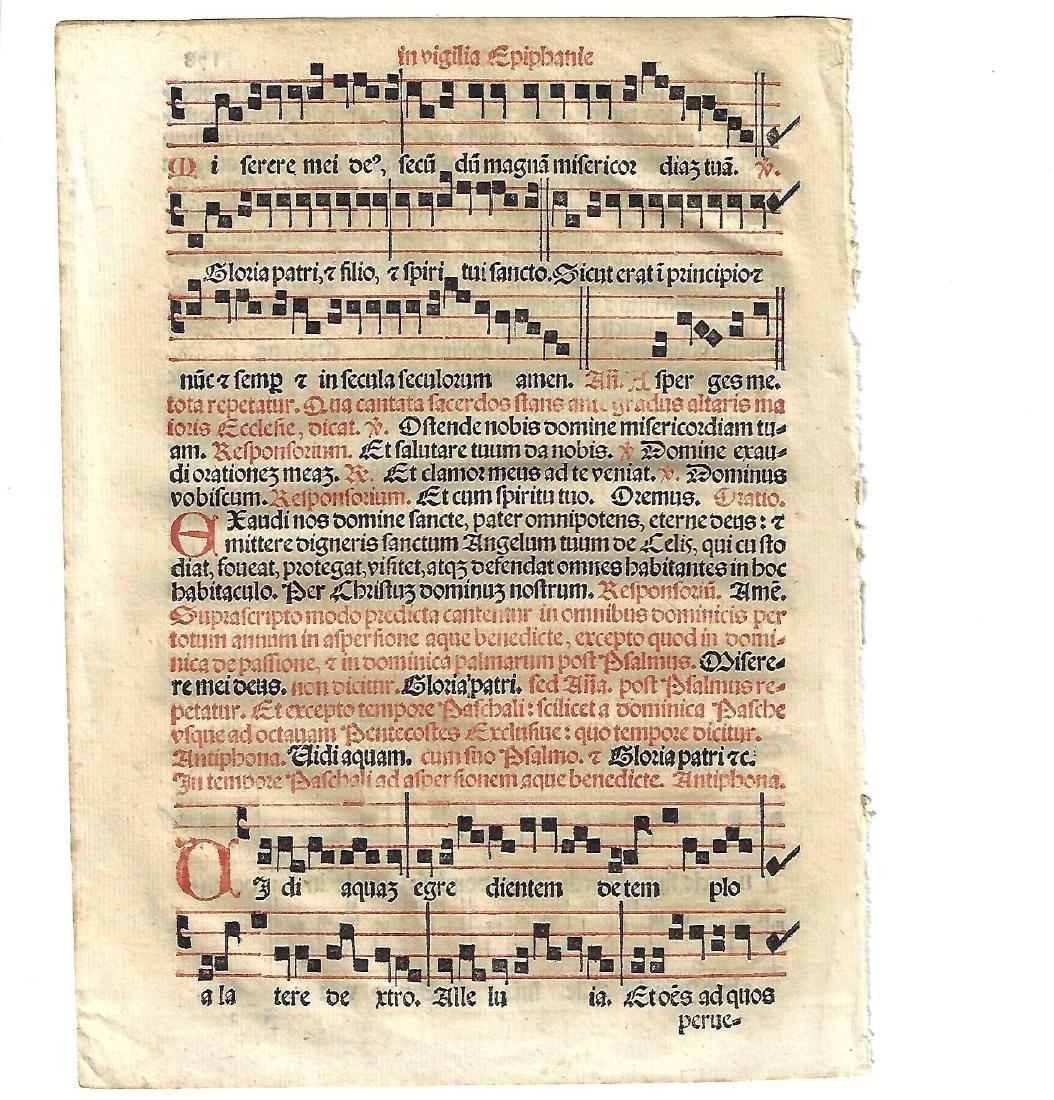 1567 Catholic Hymnal Leaf w/Music