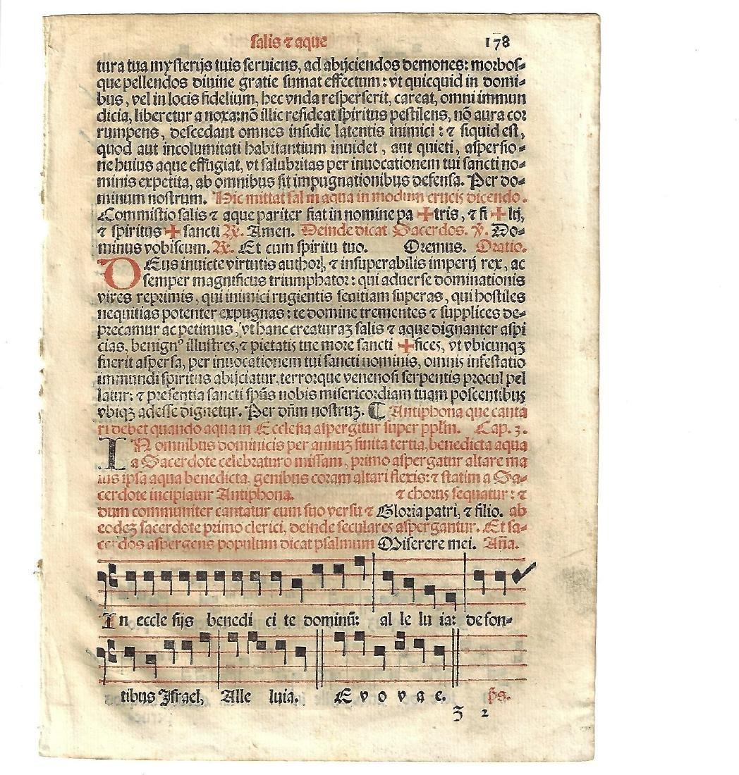 1567 Catholic Hymnal Leaf w/Music - 2