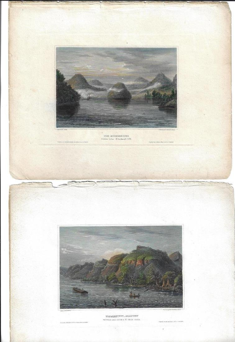 1840 Handcolored Engravings Mississippi River