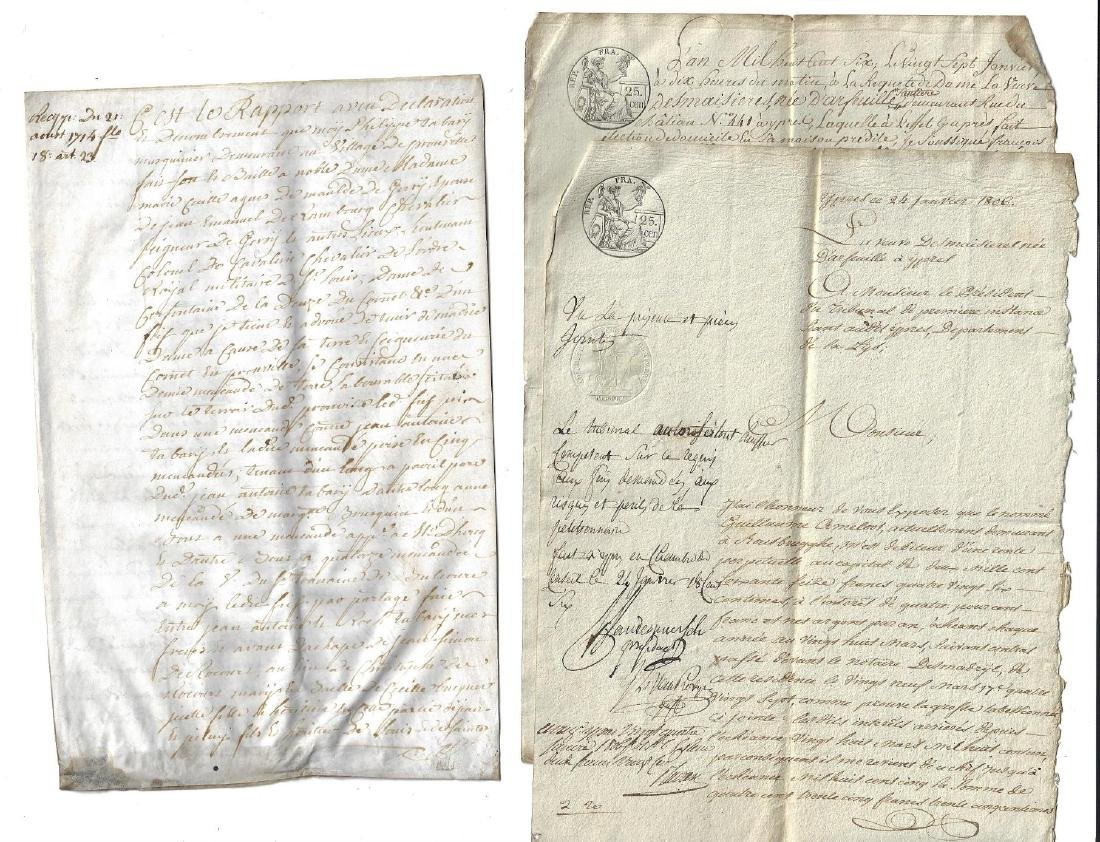 Three French Manuscripts Vellum 1714