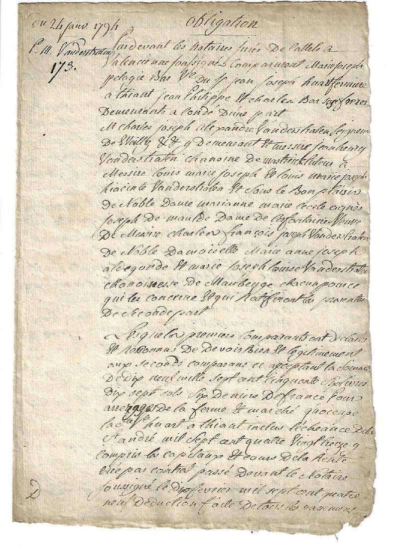 1794 French Manuscript Obligation
