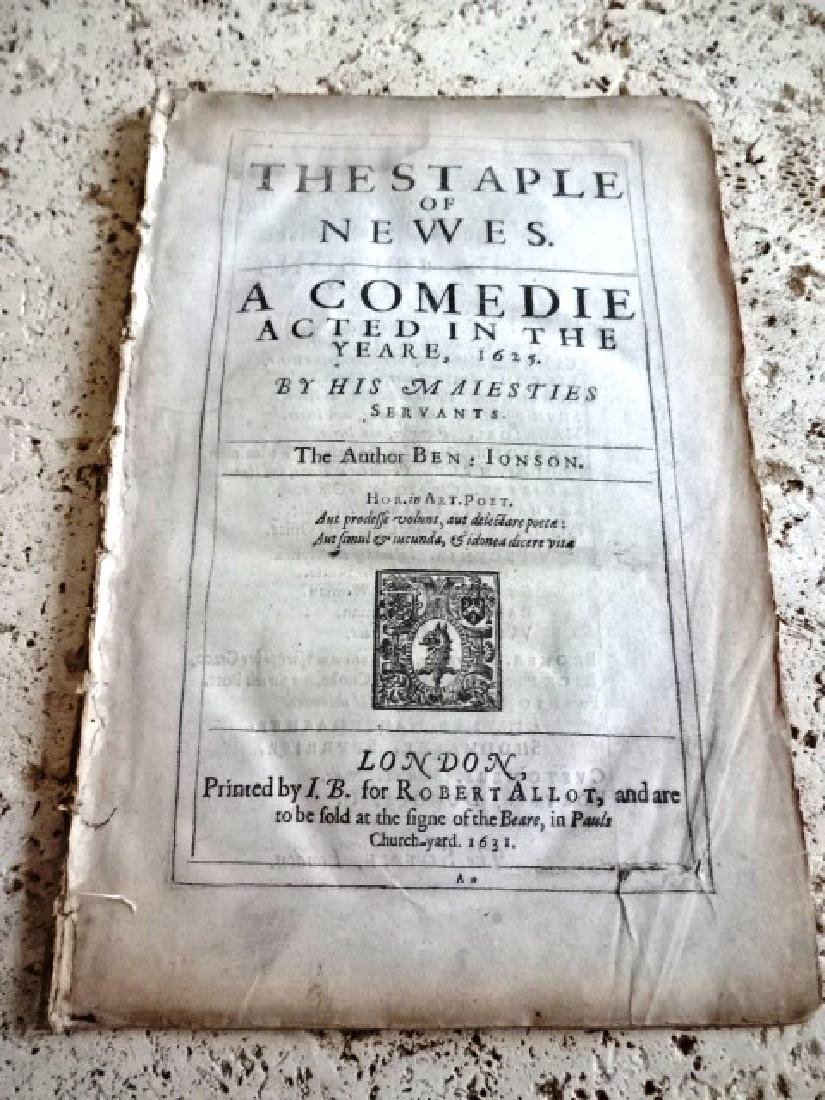 "1631 Ben Jonson ""The Staple of the Newes"" First Edition"