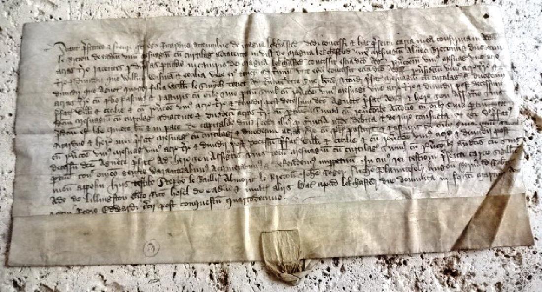 1341 English Vellum Manuscript Grant Reign Edward III