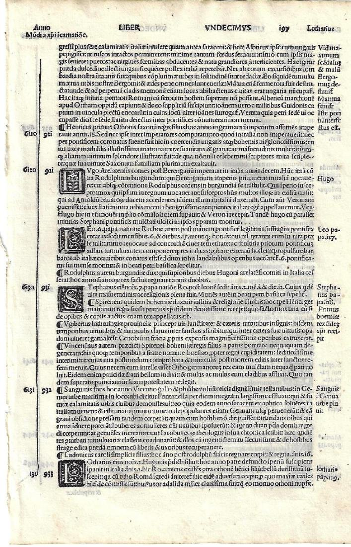 Two 16th C Cosmography Leaves Munster