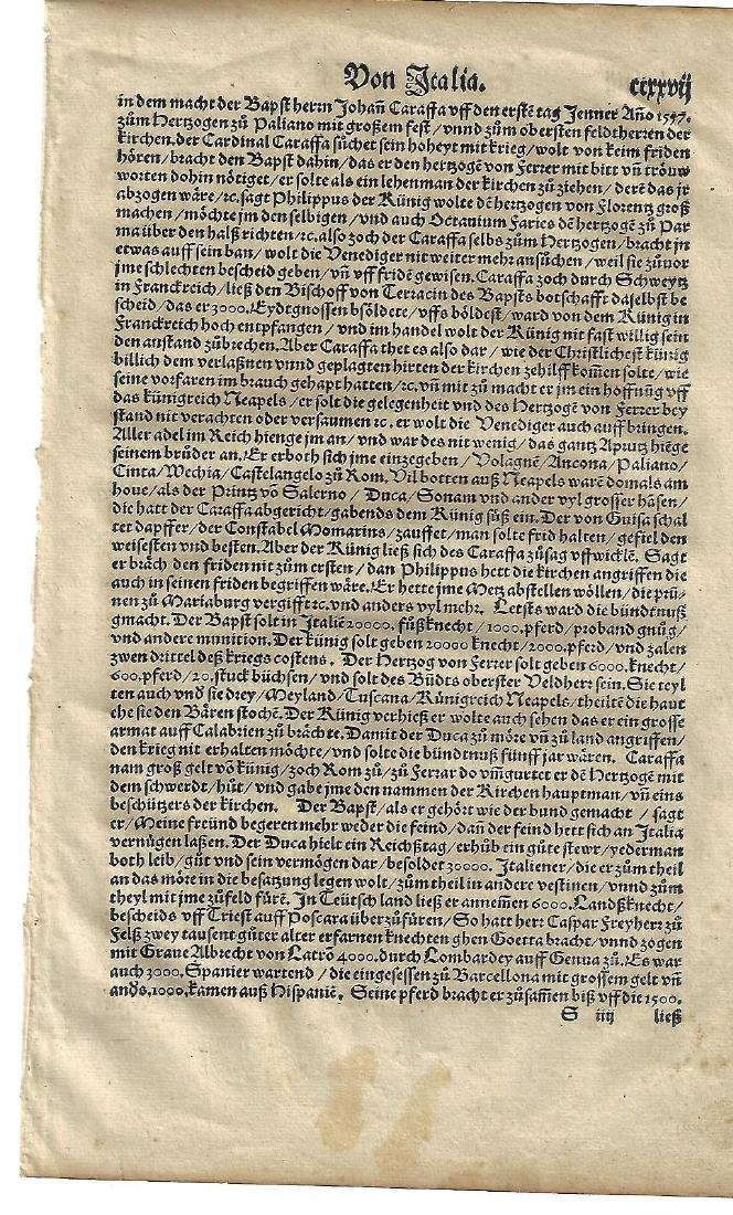 Two 16th C Cosmography Leaves Munster - 2