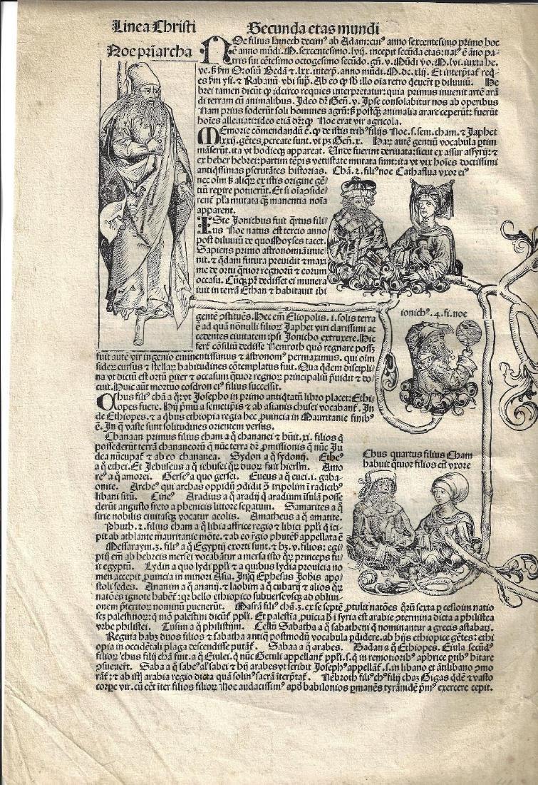 1493 Woodcut Leaf Nuremburg Chronicle