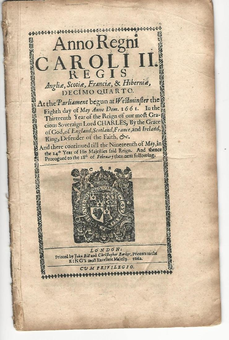 1662 English Act Decorative Title Militia