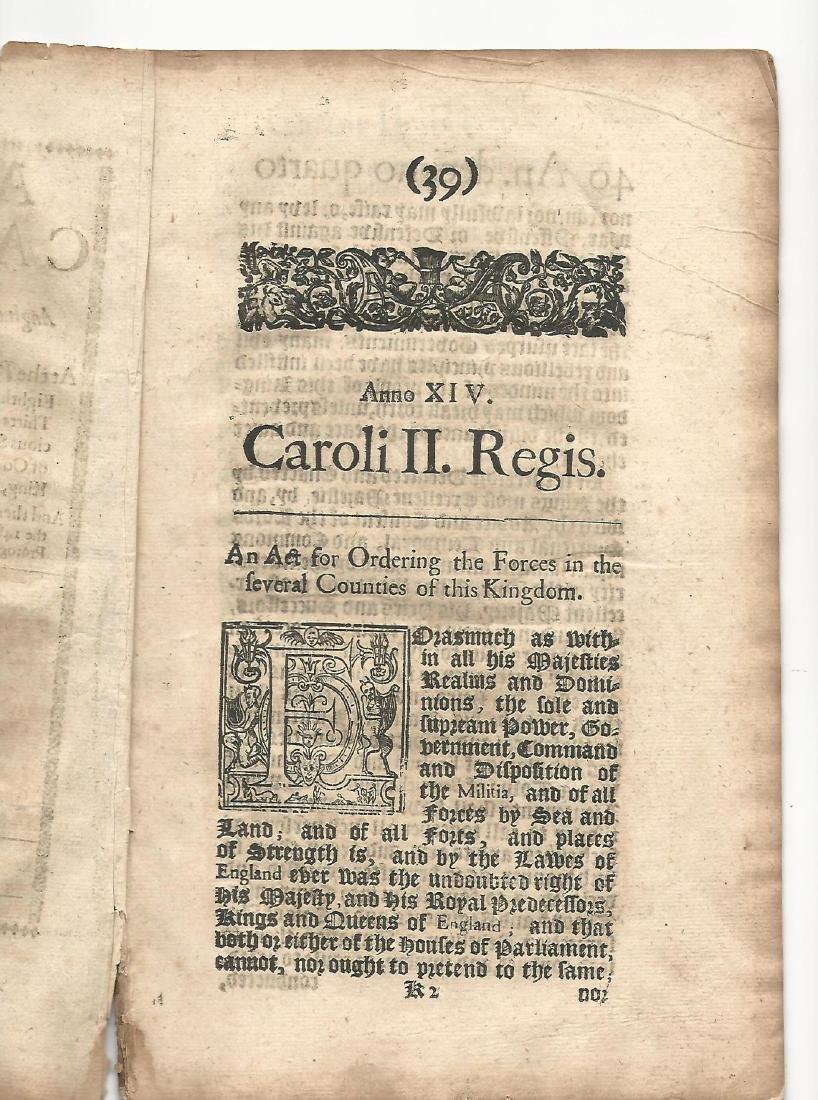 1662 English Act Decorative Title Militia - 2