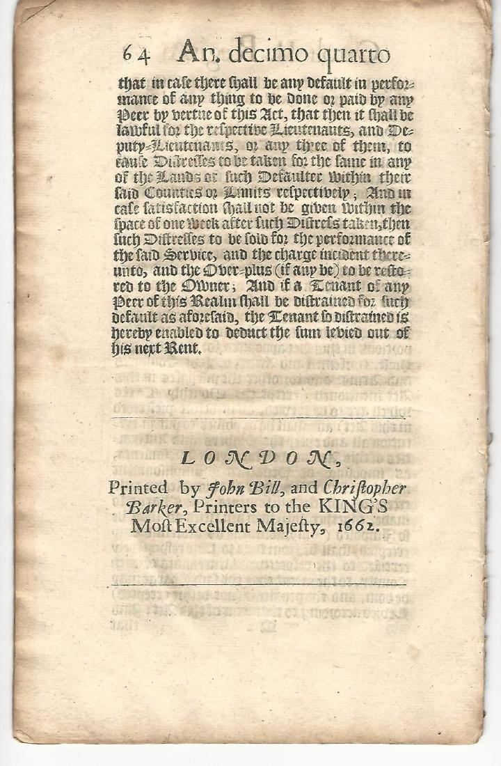 1662 English Act Decorative Title Militia - 3