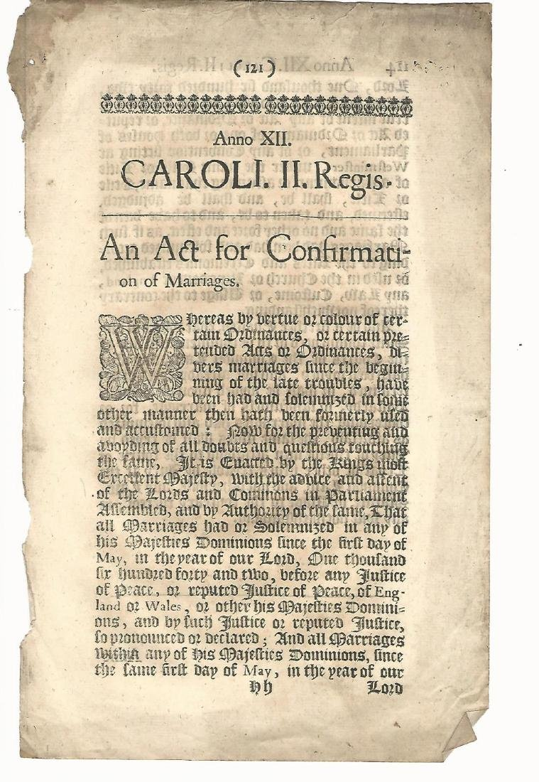 1660 An Act for the Confirmation of Marriages