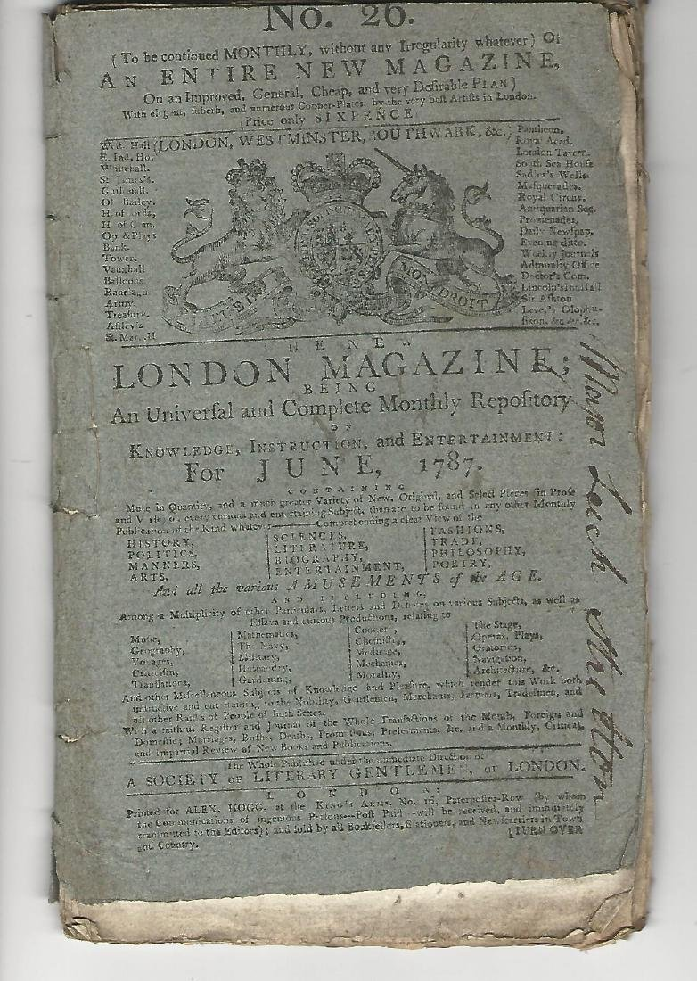 1787 New London Magazine Cook Voyages Plates