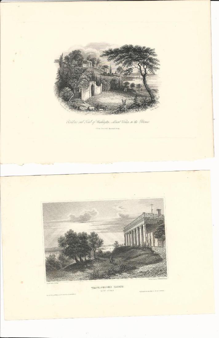 1850 Two Steel Engravings Mount Vernon