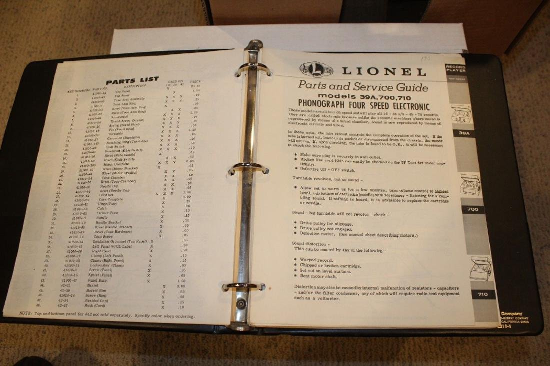 Lionel Postwar Service Station Repair Manual Phonograph