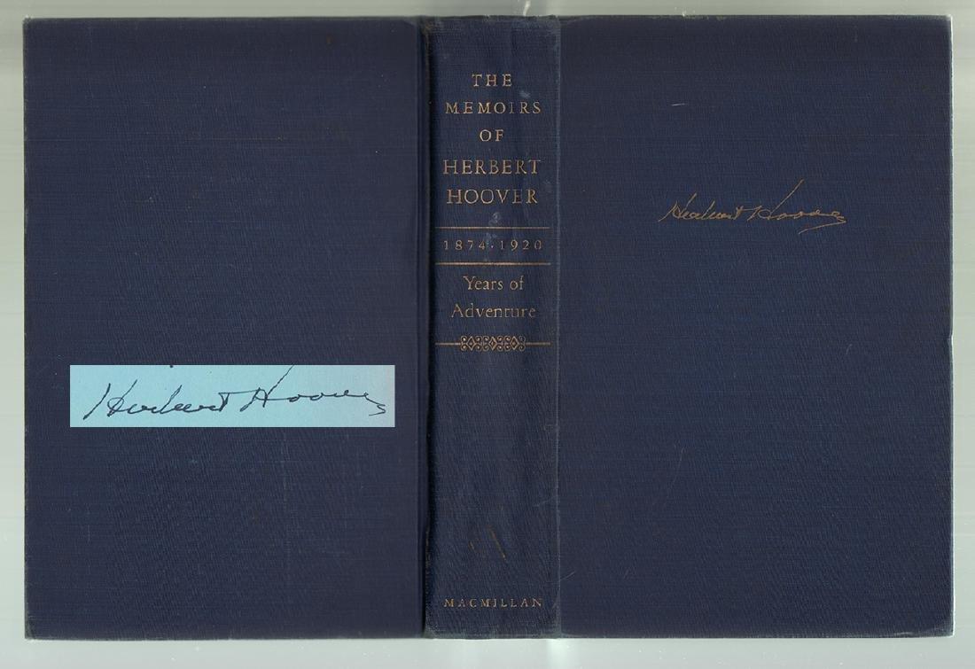 Memoirs of Herbert Hoover signed by President Hoover