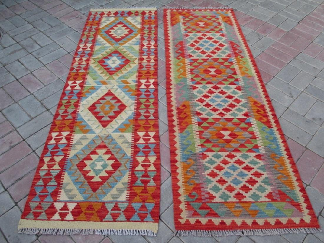 2 Hand Woven Chobi Kilim Runners Rug 6.4x2 - 6.3x1.11