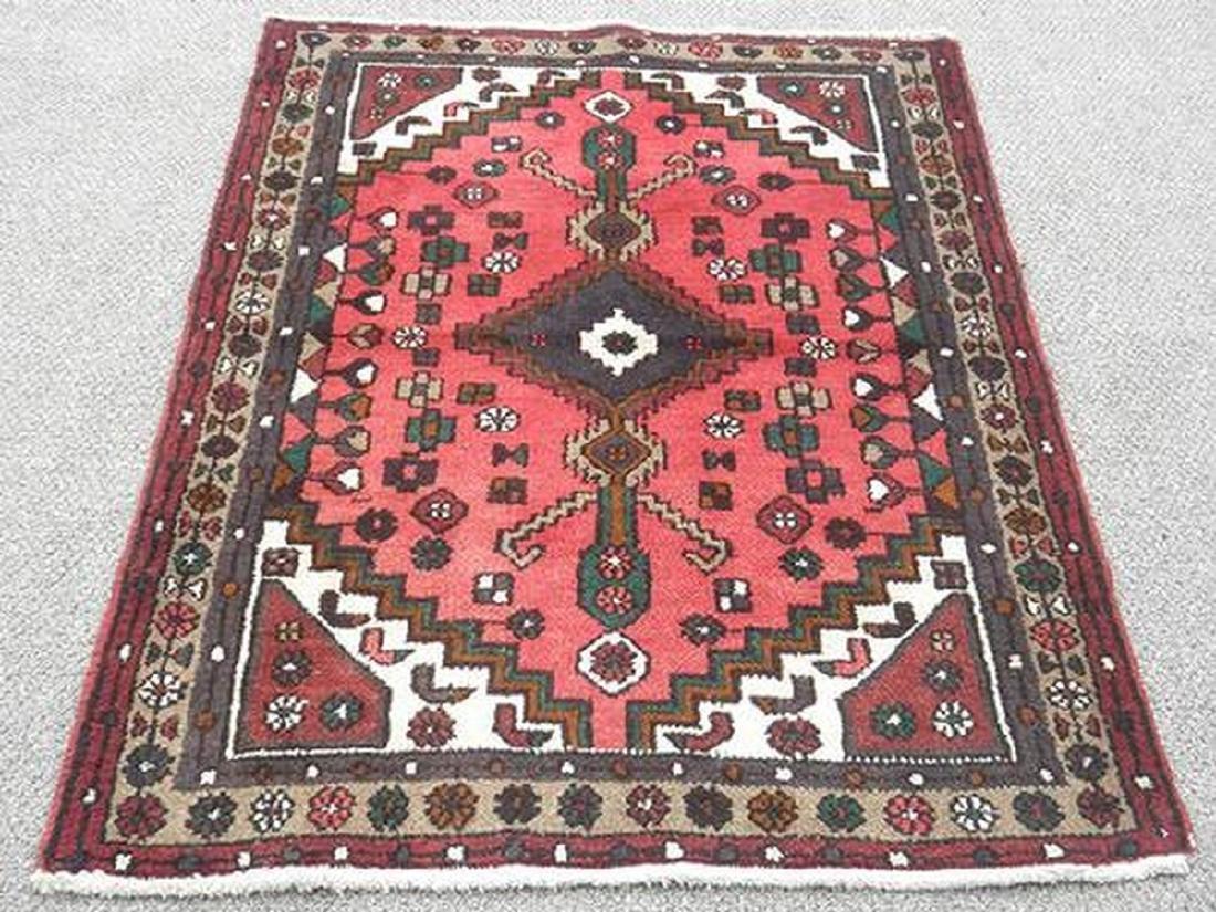 Handmade Persian Hamadan Rug 4.10x3.4