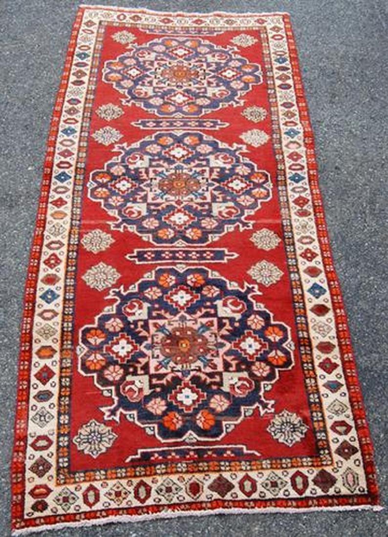 Hand Woven Persian Karajeh Runner Rug 12.9x3.10