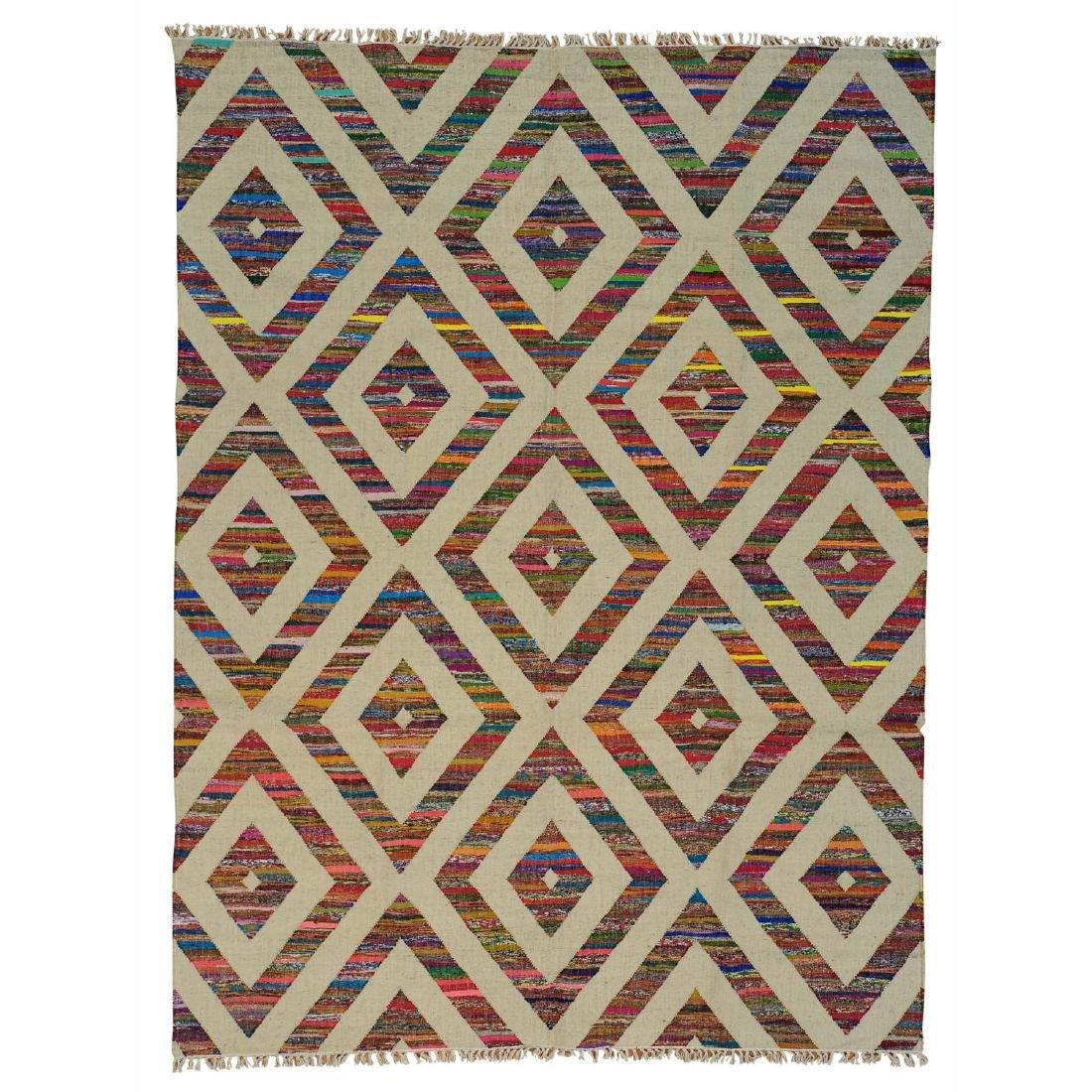 Weave Hand Woven Wool Sari Silk Durie Kilim Rug 9x11.10