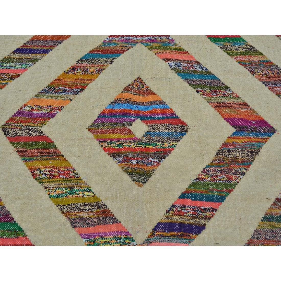 Weave Hand Woven Wool Sari Silk Durie Kilim Rug 9x11.10 - 4