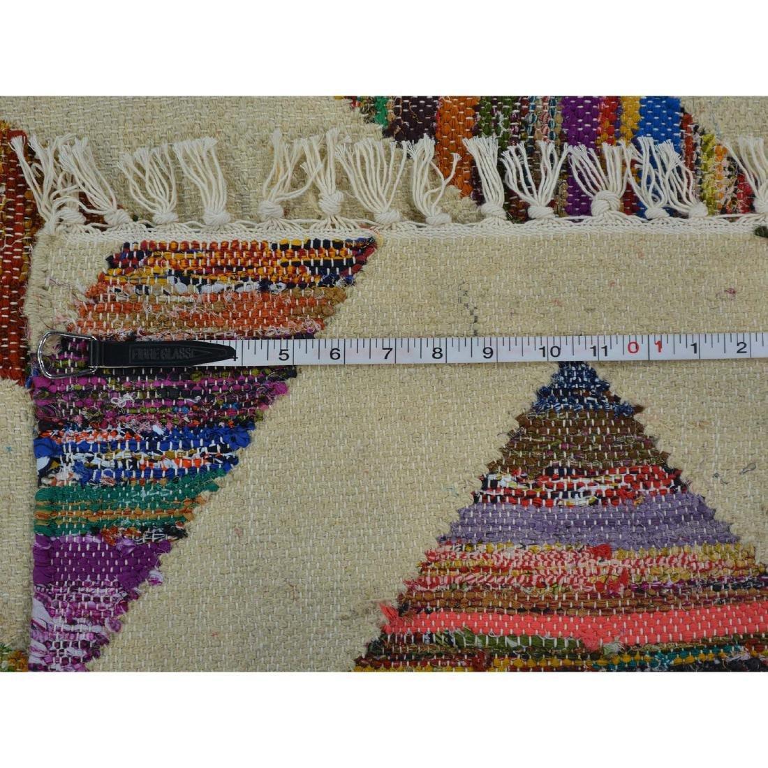 Weave Hand Woven Wool Sari Silk Durie Kilim Rug 9x11.10 - 5