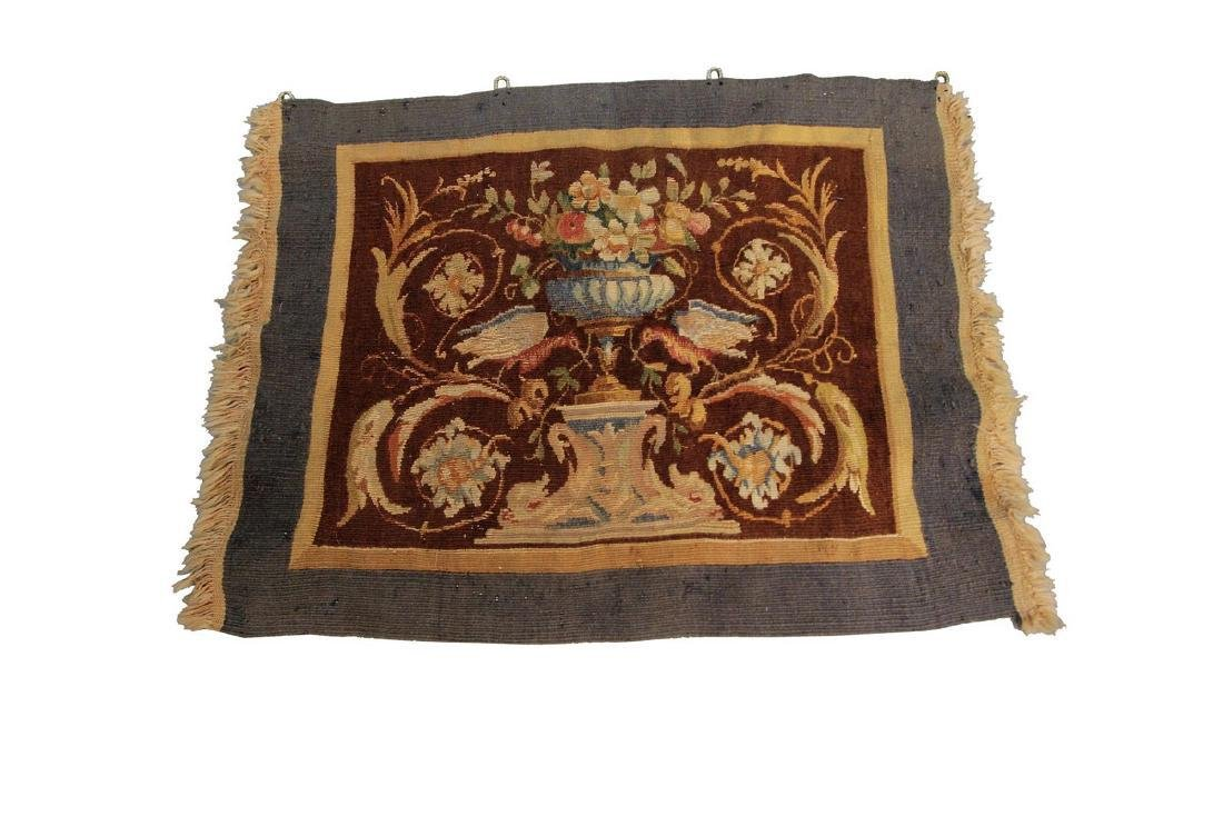 Antique French Aubusson Tapestry Wool Silk Brown 1.8x2