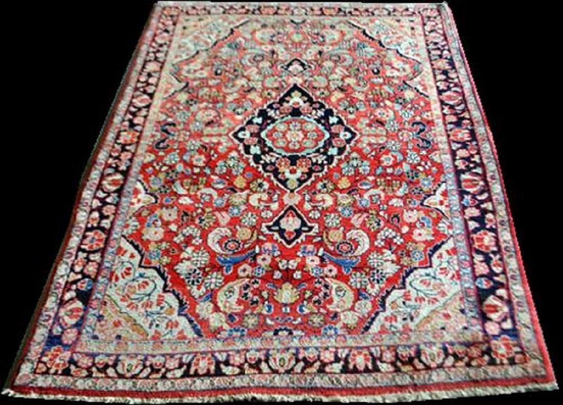 Handmade Vintage Persian Sarouk Rug 6.7x4.7