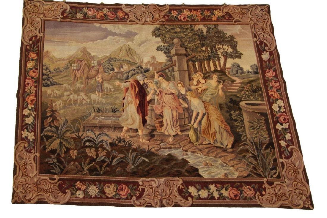 Antique English Tapestry Wool Silk Needlepoint 3.3x4.3