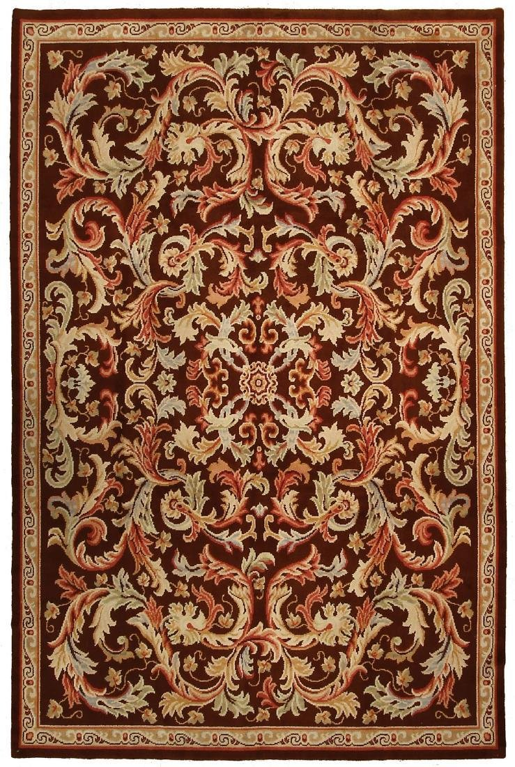 Antique French Savonnerie Rug Hand Knotted 8x12.2