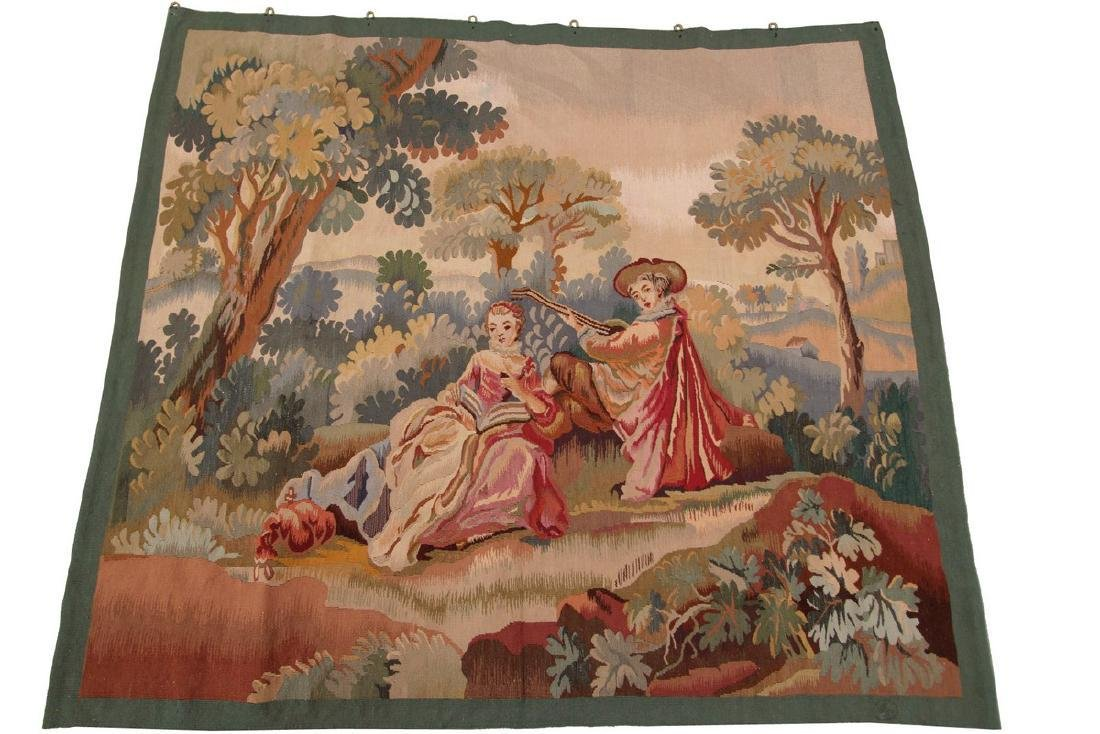 Antique French Aubusson Tapestry Wool Silk Beige 4x4.7