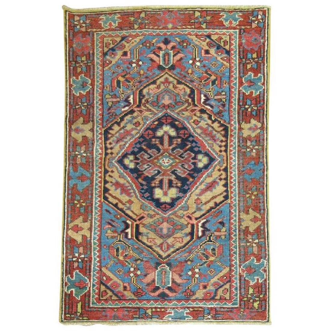 Persian Heriz Scatter Rug French Blue Accents 2.11x4.3