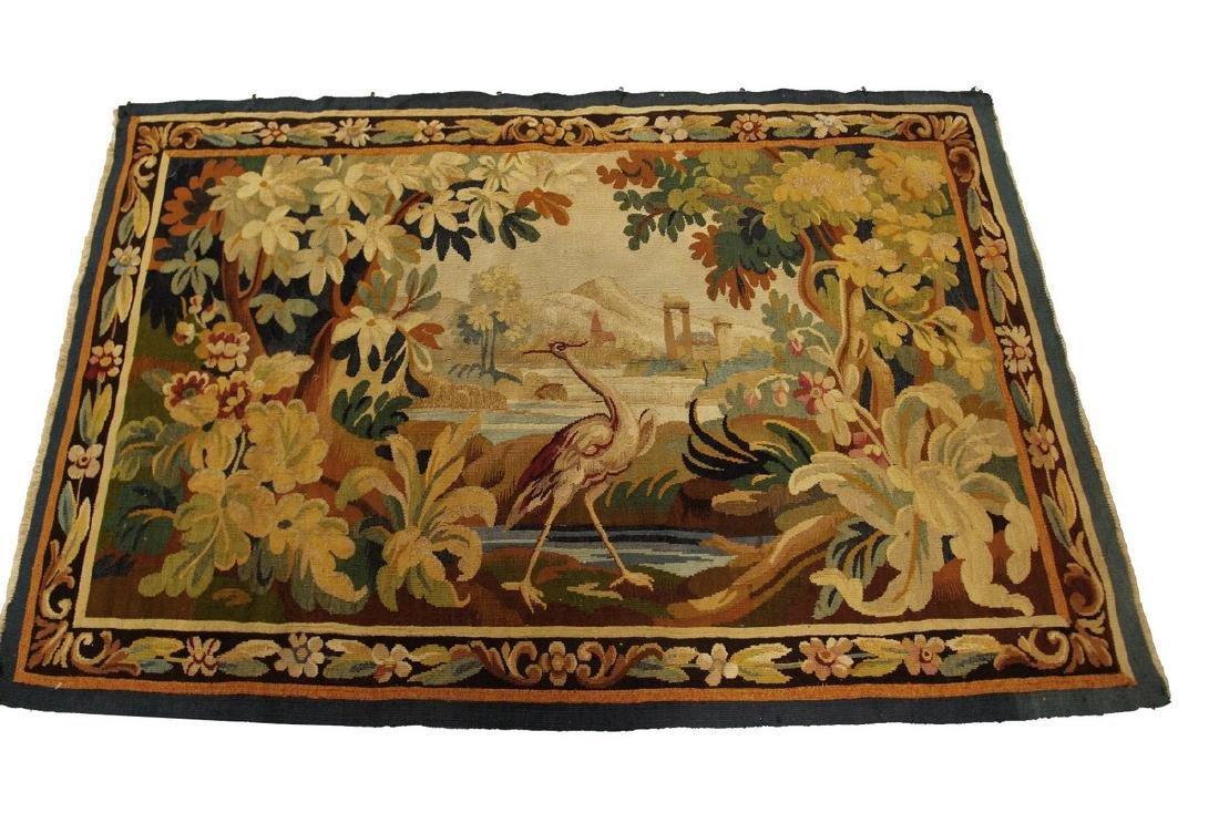Antique French Aubusson Tapestry Wool Silk Gold 3.1x4.9