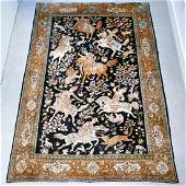Hand Knotted Silk Hunting Scene Qum Rug 63x41