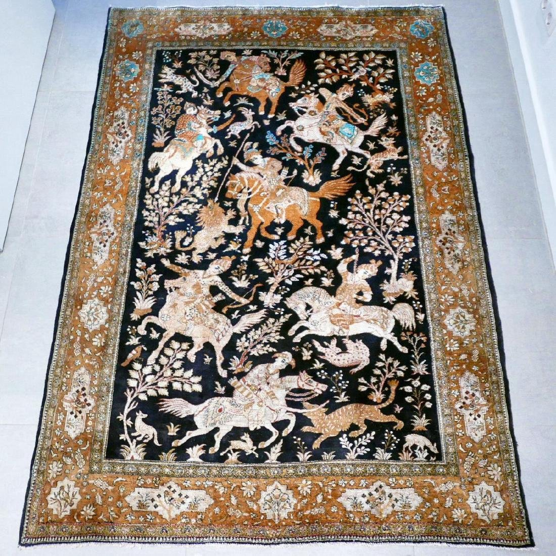 Hand Knotted Silk Hunting Scene Qum Rug 6.3x4.1