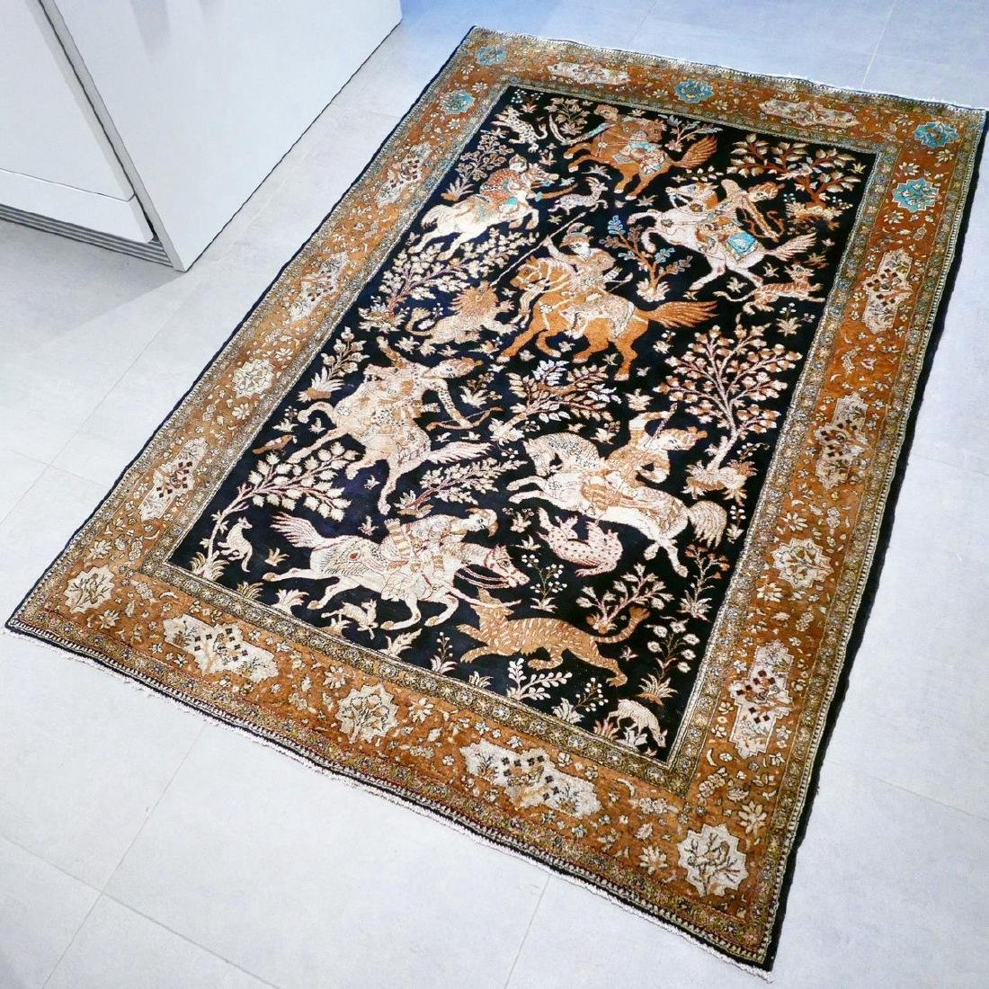 Hand Knotted Silk Hunting Scene Qum Rug 6.3x4.1 - 2